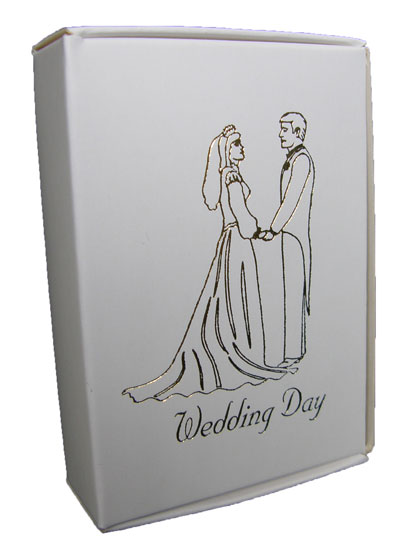 White Cake Boxes with Bride and Groom Wedding Day Print in Gold - Pack of 10