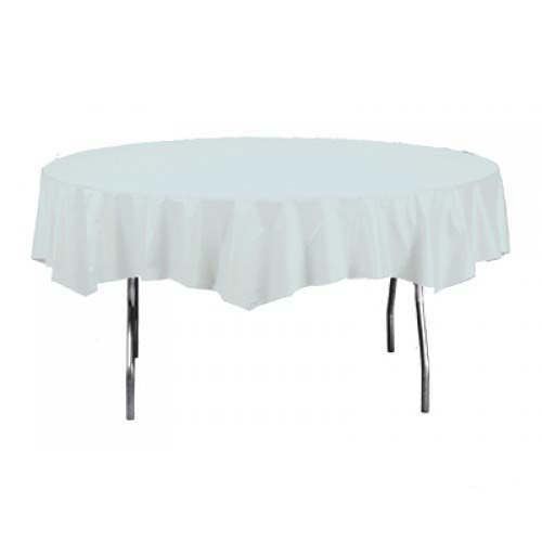 White Round Plastic Tablecover 213cm Product Image