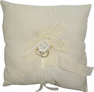 White Square Wedding Ring Cushion with Rose Product Image