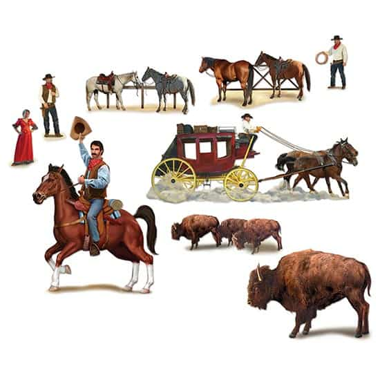 Wild West Character Backdrop Scene Setter Add-Ons - Pack of 9