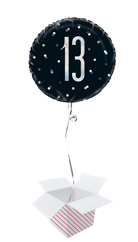 Black Glitz Age 13 Holographic Round Foil Helium Balloon - Inflated Balloon in a Box