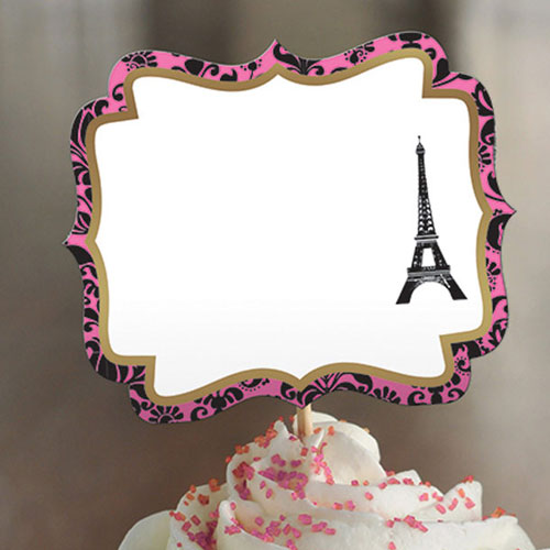 A Day in Paris Customisable Food Label Picks - Pack of 24 Product Image