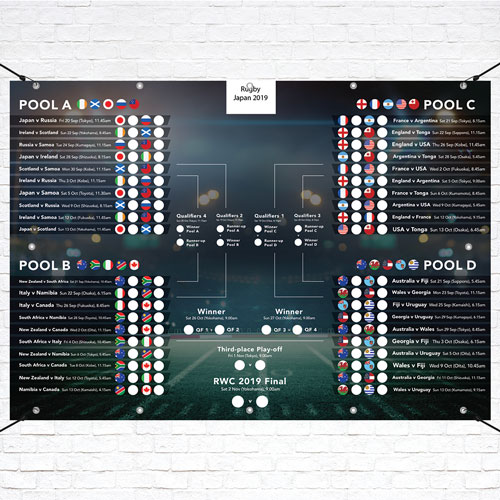 A3 Japan 2019 Rugby Fixture Wall Chart