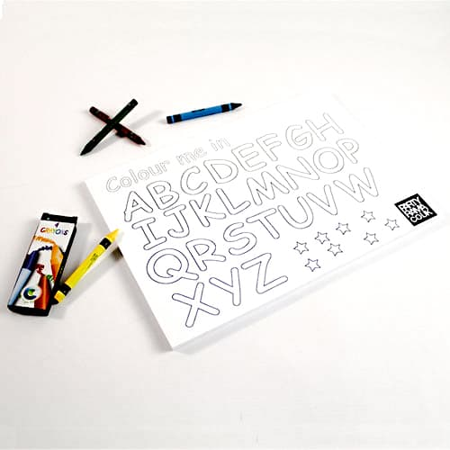 ABC Colouring Themed A4 Colouring sheet With 4 Crayons Product Image