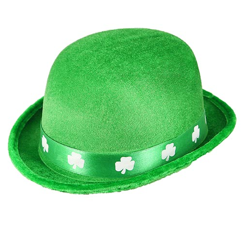 Adult Bowler Hat with Shamrock Band St. Patrick's Day Fancy Dress Product Image