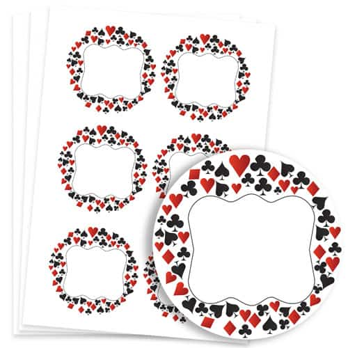 Casino Design 95mm Round Sticker sheet of 6