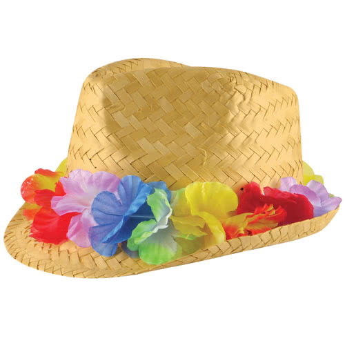 Hawaiian Adult Straw Hat With Flower Band Product Image
