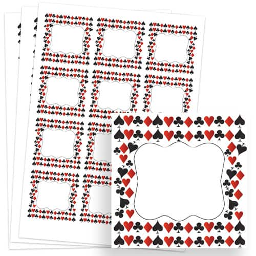 Casino Design 65mm Square Sticker sheet of 12