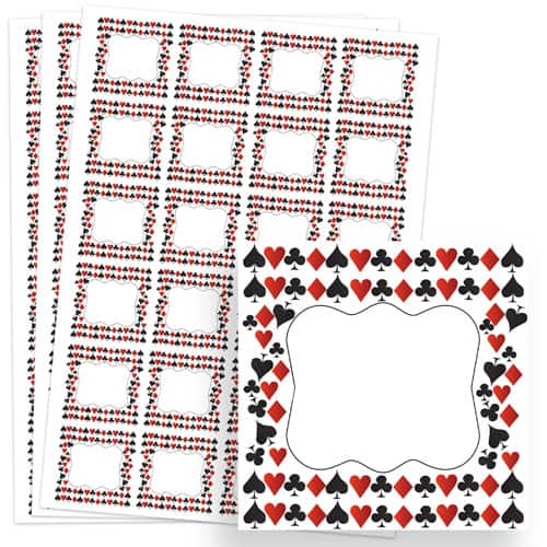 Casino Design 40mm Square Sticker sheet of 24