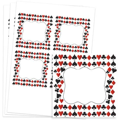 Casino Design 95mm Square Sticker sheet of 4