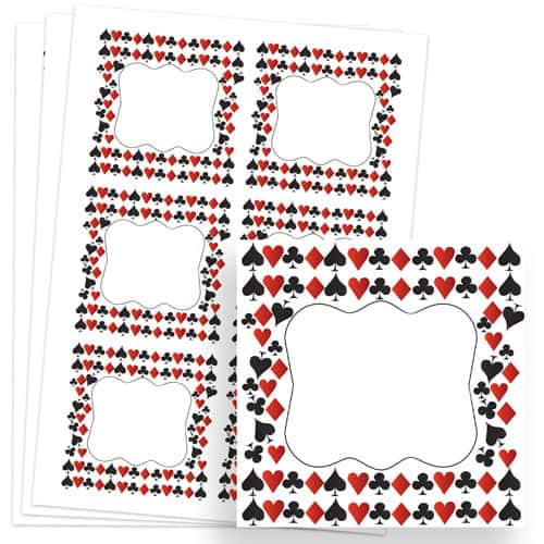 Casino Design 80mm Square Sticker sheet of 6