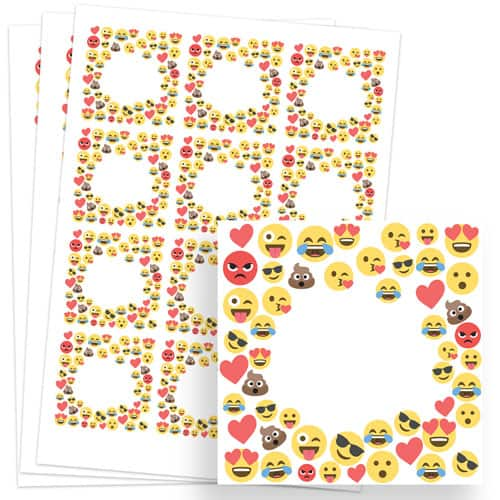 Emoji Design 65mm Square Sticker sheet of 12