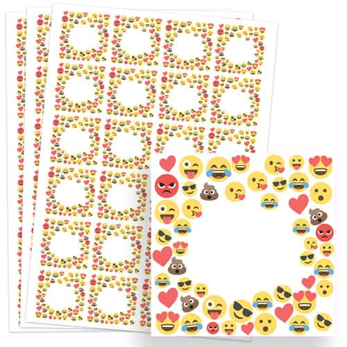 Emoji Design 40mm Square Sticker sheet of 24