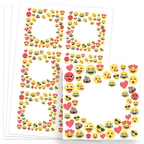 Emoji Design 80mm Square Sticker sheet of 6