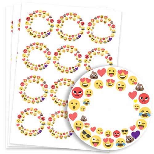 Emoji Design 60mm Round Sticker sheet of 12