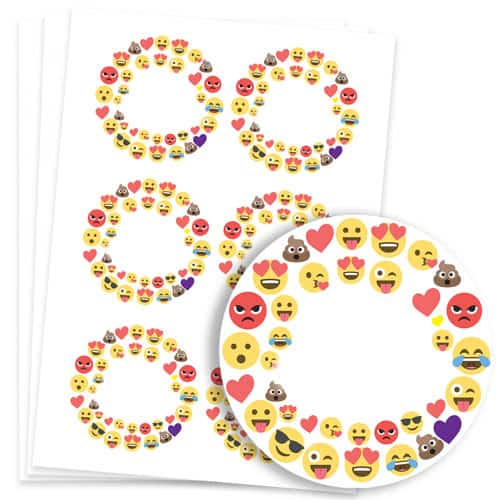 Emoji Design 95mm Round Sticker sheet of 6