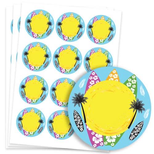 Hawaiian Design 60mm Round Sticker sheet of 12 Product Image