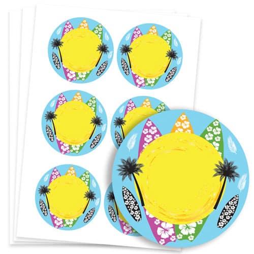 Hawaiian Design 95mm Round Sticker sheet of 6 Product Image