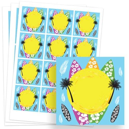 Hawaiian Design 65mm Square Sticker sheet of 12 Product Image