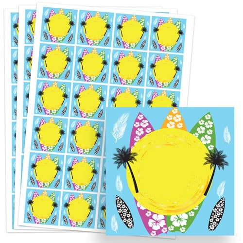 Hawaiian Design 40mm Square Sticker sheet of 24 Product Image