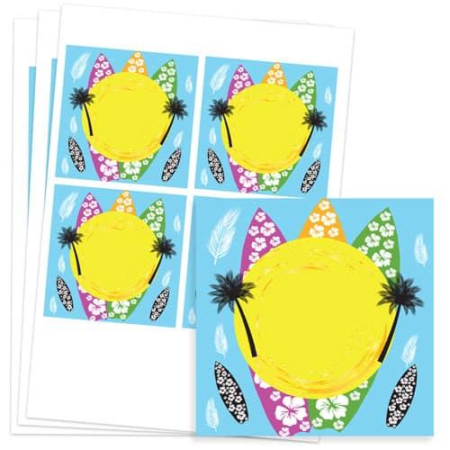 Hawaiian Design 95mm Square Sticker sheet of 4 Product Image