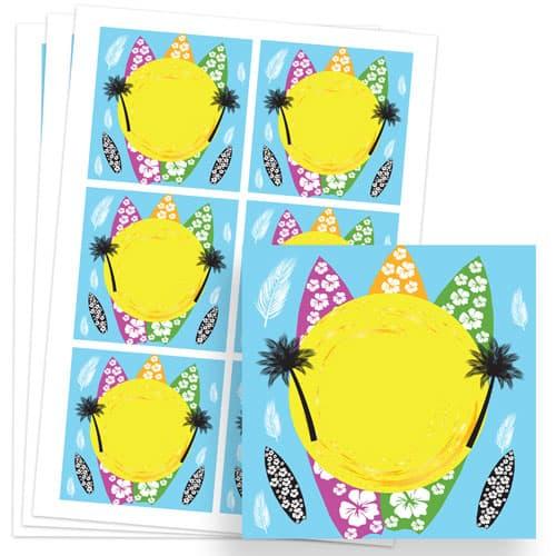 Hawaiian Design 80mm Square Sticker sheet of 6 Product Image