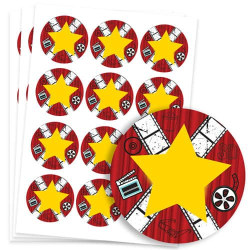 Hollywood Design 60mm Round Sticker sheet of 12 Product Image