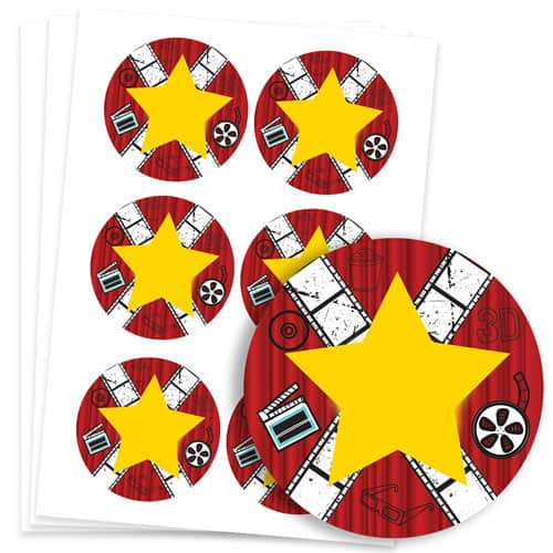 Hollywood Design 95mm Round Sticker sheet of 6 Product Image