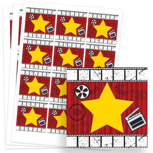 Hollywood Design 65mm Square Sticker sheet of 12 Product Image