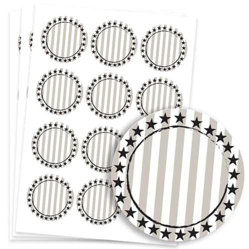 Wild West Design 60mm Round Sticker sheet of 12 Product Image