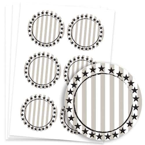 Wild West Design 95mm Round Sticker sheet of 6 Product Image