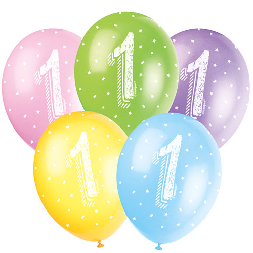 Age 1 Biodegradable Assorted Latex Balloons 30cm / 12Inch - Pack of 5 Product Image