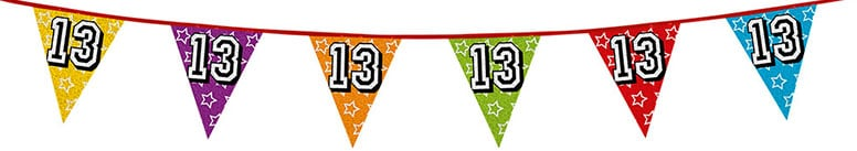 Age 13 Holographic Foil Pennant Bunting 8m Product Image