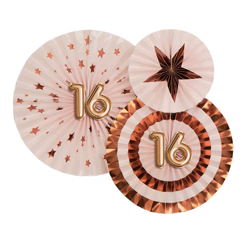 Age 16 Pink & Rose Gold Pinwheel Fan Hanging Decorations - Pack of 3 Product Image