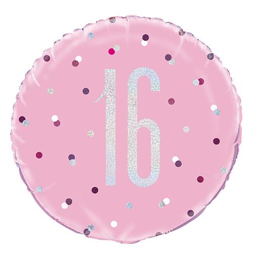 Pink Glitz Age 16 Holographic Round Foil Helium Balloon 46cm / 18 in