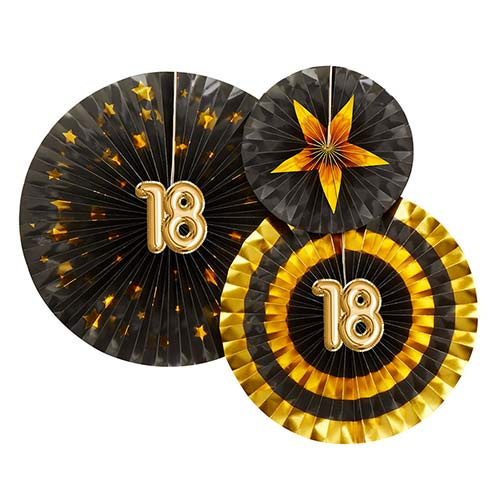 Age 18 Black & Gold Pinwheel Fan Hanging Decorations - Pack of 3 Product Image