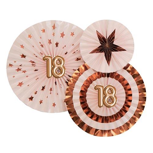 Age 18 Pink & Rose Gold Pinwheel Fan Hanging Decorations - Pack of 3