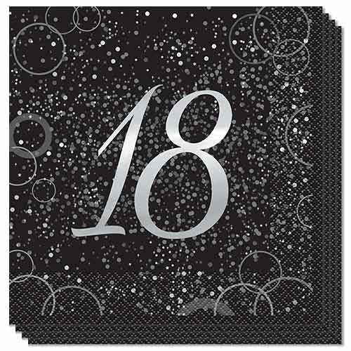 Age 18 Silver Foil Glitz Luncheon Napkins 33cm 2Ply - Pack of 16