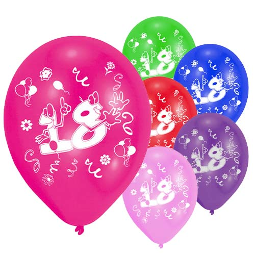 Age 18 Two-Sided Print Assorted Latex Balloons 25cm / 10 in - Pack of 8 Product Image