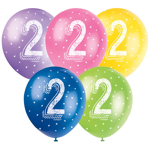 Age 2 Assorted Biodegradable Latex Balloons 30cm / 12Inch - Pack of 5
