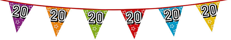 Age 20 Holographic Foil Pennant Bunting 8m Product Image