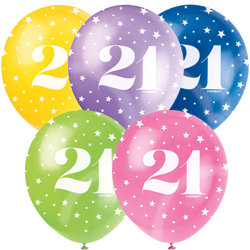 Age 21 Biodegradable Assorted Latex Balloons 30cm / 12 in - Pack of 5 Product Image