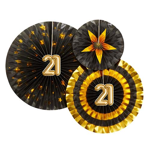 Age 21 Black & Gold Pinwheel Fan Hanging Decorations - Pack of 3 Product Image