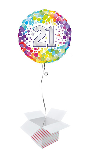 Age 21 Colourful Confetti Round Foil Helium Balloon - Inflated Balloon in a Box Product Image