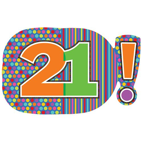 Age 21 Dots & Stripes Helium Foil Giant Balloon 74cm / 29 in Product Image