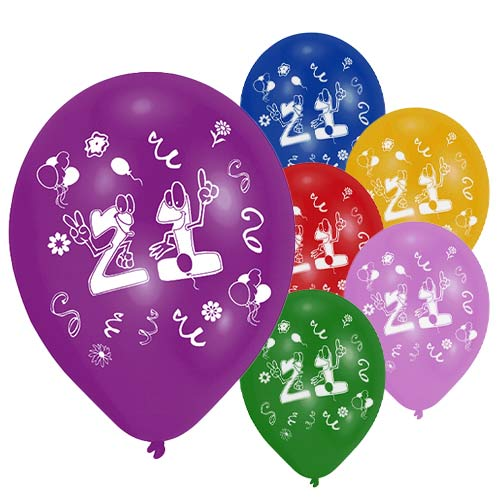 Age 21 Two-Sided Print Assorted Latex Balloons 25cm / 10 in - Pack of 8 Product Image