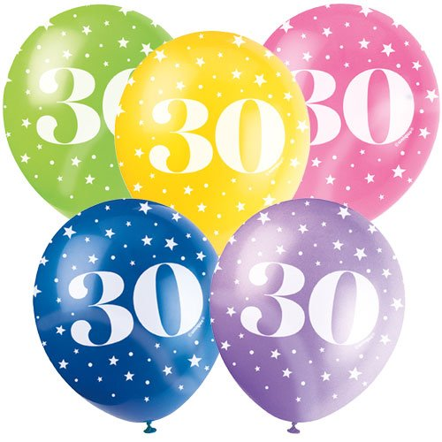 Age 30 Biodegradable Assorted Latex Balloons 30cm / 12 in - Pack of 5