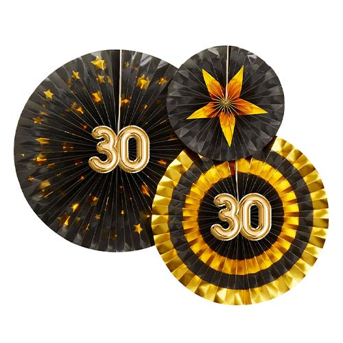 Age 30 Black & Gold Pinwheel Fan Hanging Decorations - Pack of 3 Product Image
