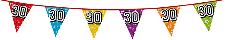 Age 30 Holographic Foil Pennant Bunting 8m