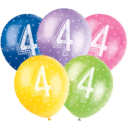 Age 4 Biodegradable Assorted Latex Balloons 30cm / 12Inch - Pack of 5